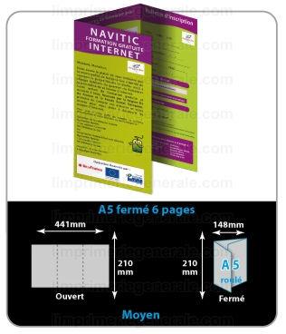 Le célèbre Dépliant 3 volets ( 6 pages ) impression imprimer imprimerie faire &RO_28